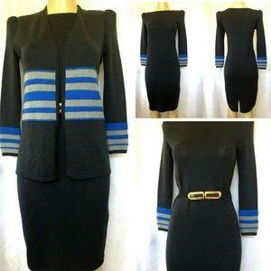 St John Santana Knit Set Sheath Dress Vest Sweater